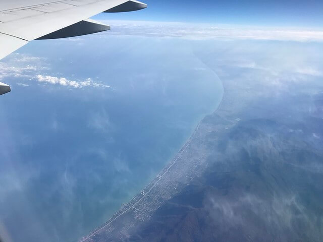 view of the Caspian Sea from the sky