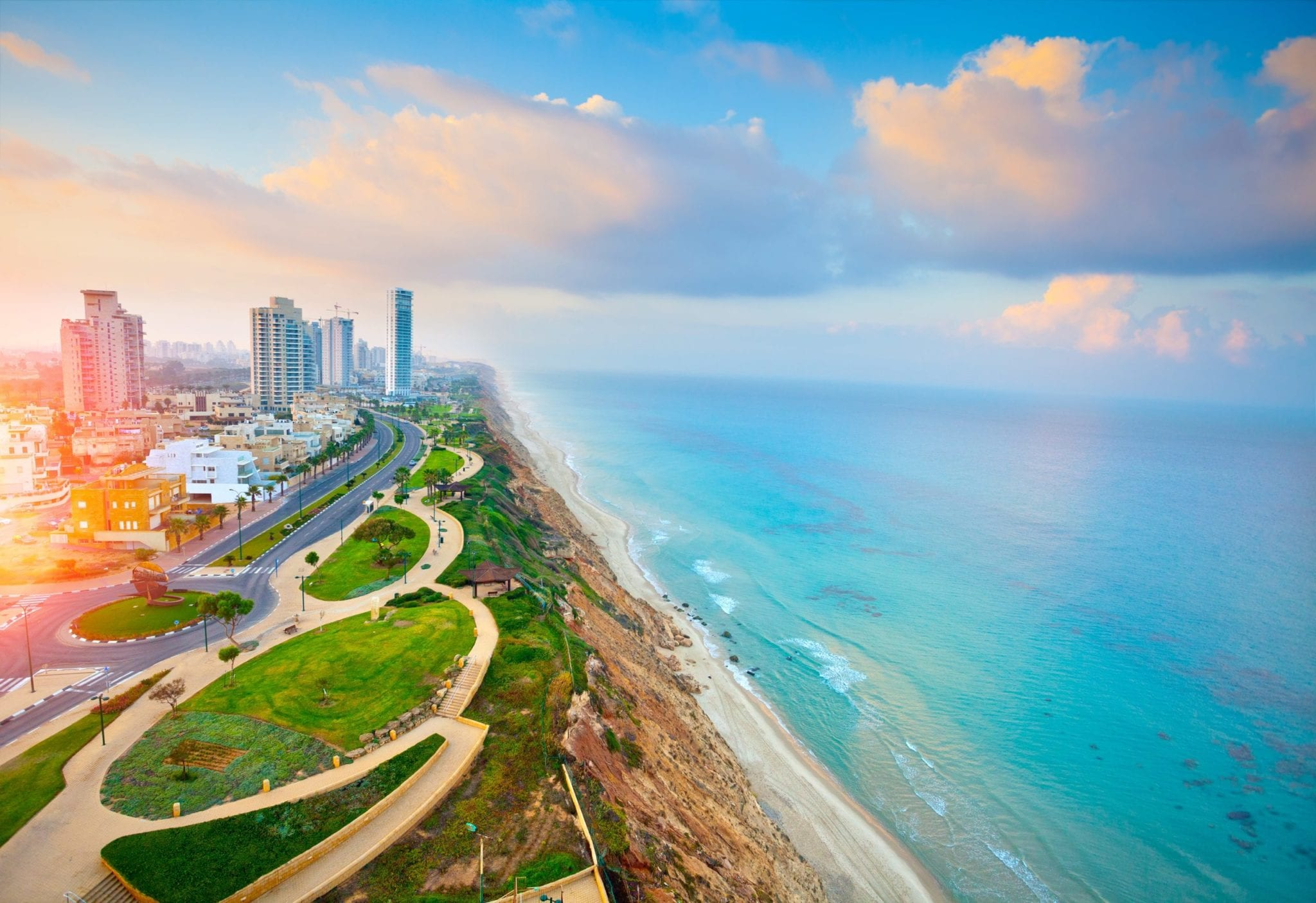 panoramic view of the netanya coastline